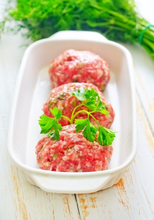 Raw meat balls in the white bowl Stock Photo - 16510707