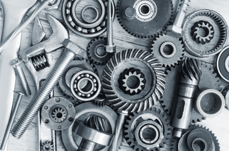 gearing: supplies for  industrial, nuts and bolts Stock Photo