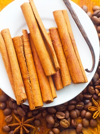 cinnamon and coffee on the white plate Stock Photo - 16689208