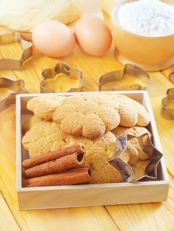 Fresh sweet cookies with cinnamon photo