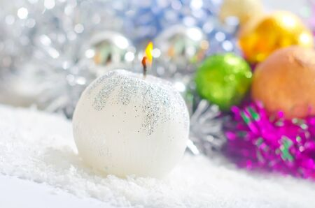 candle and other christmas decoration photo