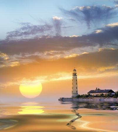 rough sea: lighthouse