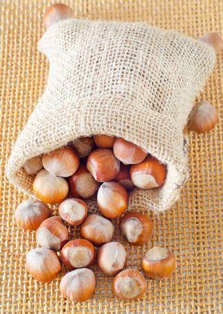 burlap sac: hazelnuts Stock Photo