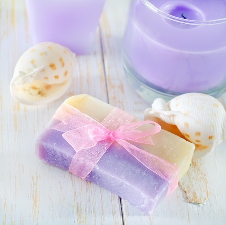 soap and candle Stock Photo