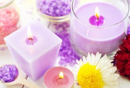 Sea salt and candle, color salt Stock Photo - 17351409