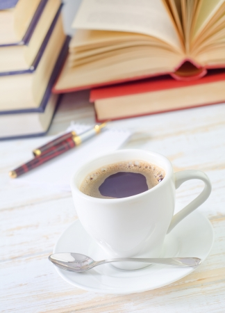 cup: coffee and note Stock Photo
