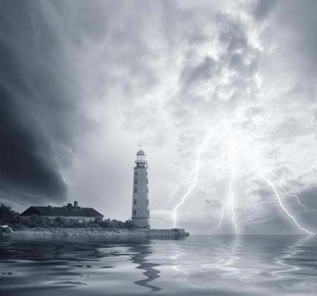 devastating: storm on the sea Stock Photo