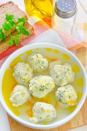 soup with meat balls photo