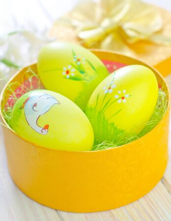 easter eggs in yellow box photo