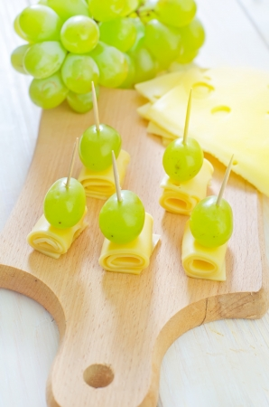 canape with drape and cheese Stock Photo