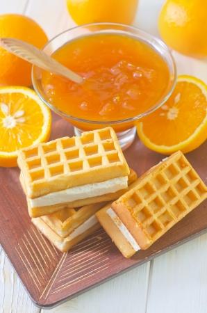 waffle and orange jam photo