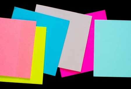 color sheets for note on black background photo