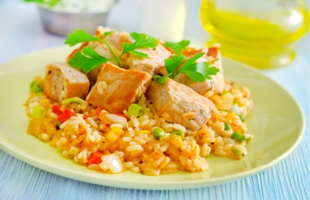 rice with meat photo