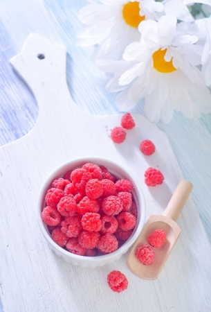 raspberries in a cup photo