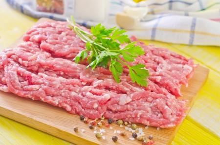 carne macinata: carne macinata con spezie Archivio Fotografico