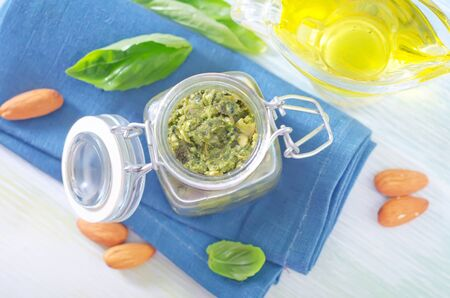 pesto in glass container photo