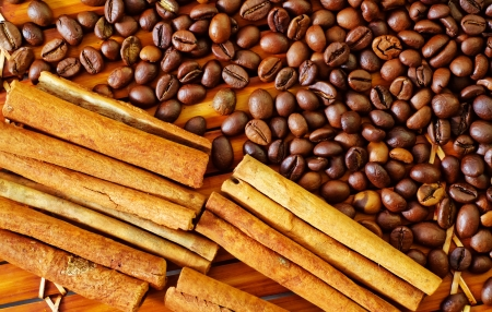 coffee beans and cinnamon photo