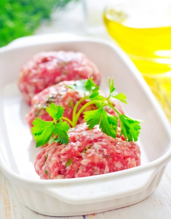 Raw meat balls in the white bowl photo