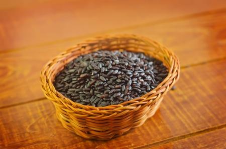 hulled: black rice Stock Photo