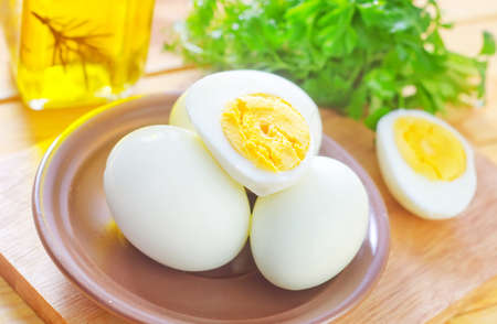 breakfast food: boiled eggs Stock Photo