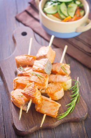 salmon kebab photo