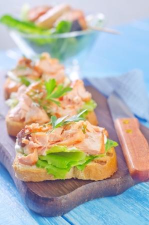 pumpernickel: sandwich with salmon Stock Photo