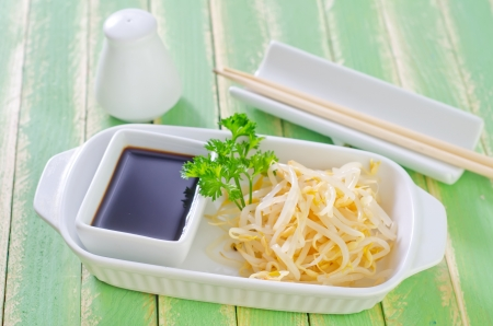 soy sauce: sprouts and soy sauce