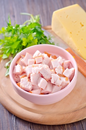 cubed: ingredients for salad, chicken and cheese