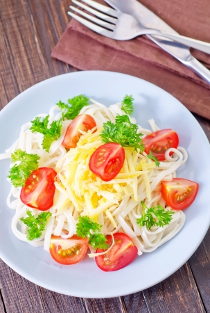 caloric: pasta with cheese and tomato Stock Photo