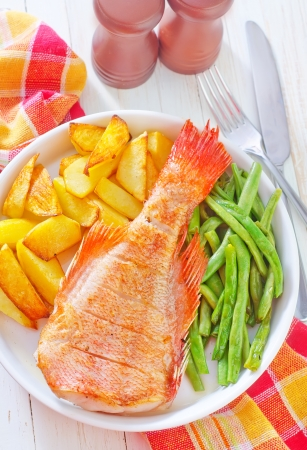 fried fish, potato and green beans Stock Photo - 22501038