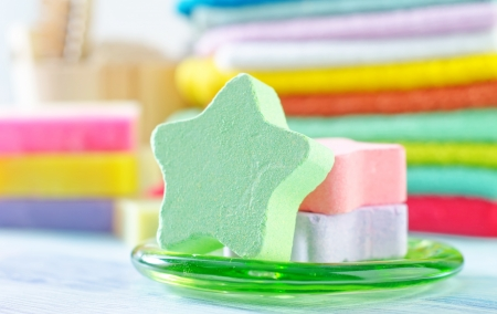 Assortment of soap and towels photo