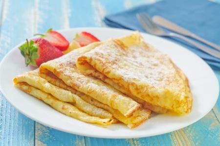 いちごのパンケーキ 写真素材