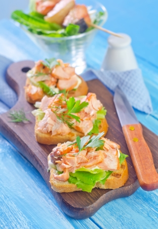 toast with salmon photo