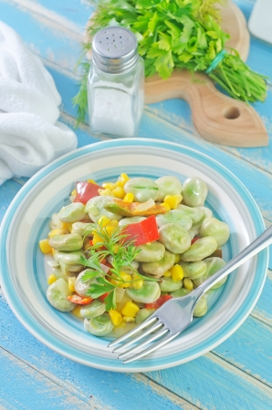 fried beans with corn and pepper photo