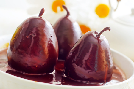 Pear with chocolate, sweet food photo