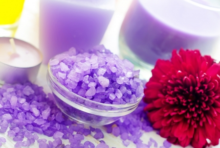 Violet sea salt for spa and candle photo