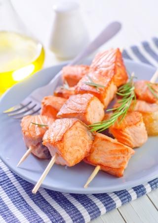 zalm kebab Stockfoto