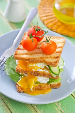 poached: bread with poached eggs