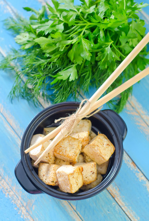 french fries plate: fried tofu Stock Photo