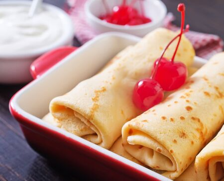 pancakes with cherry photo