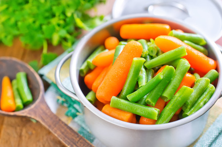 long bean: carrot and green beans Stock Photo