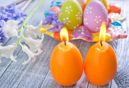 easter eggs and candle photo