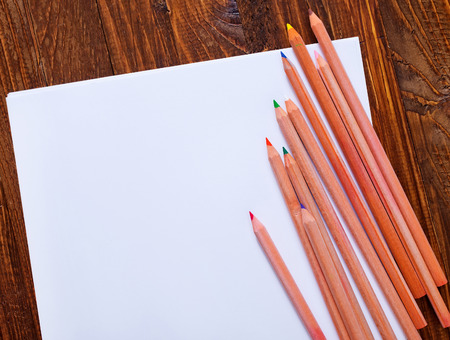 paper and color pencils photo