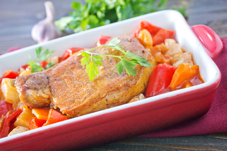 baked vegetables with meat photo
