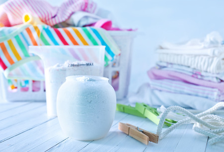 wasmiddel voor een wasserij wasmachine Stockfoto