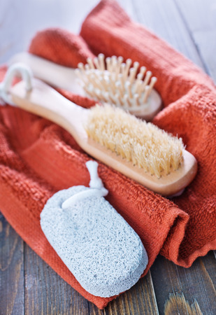 towels and hearbrushes photo