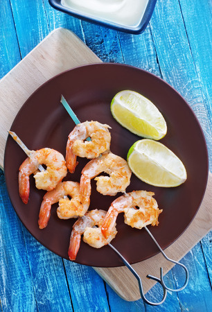 caterers: fried shrimps Stock Photo