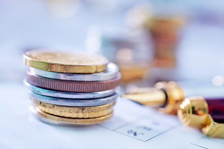 coins shot in golden color: money