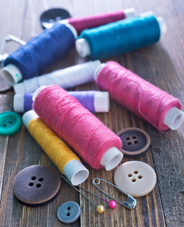 craft material tinker: color threads Stock Photo