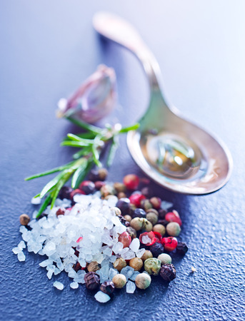 refinement: aroma spice on the table, pepper and salt Stock Photo